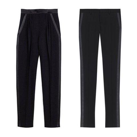 Maskülen Şıklık    Pallas Lambda pantolon, $1,435,  theline.com  ; Saint Laurent İkonik Le Smoking boru pantolon, $990,  ysl.com