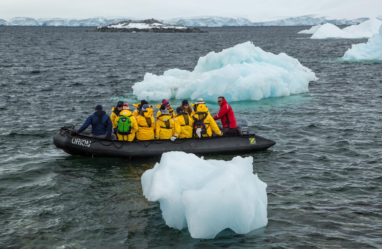 Ice floating at Port Lockroy.