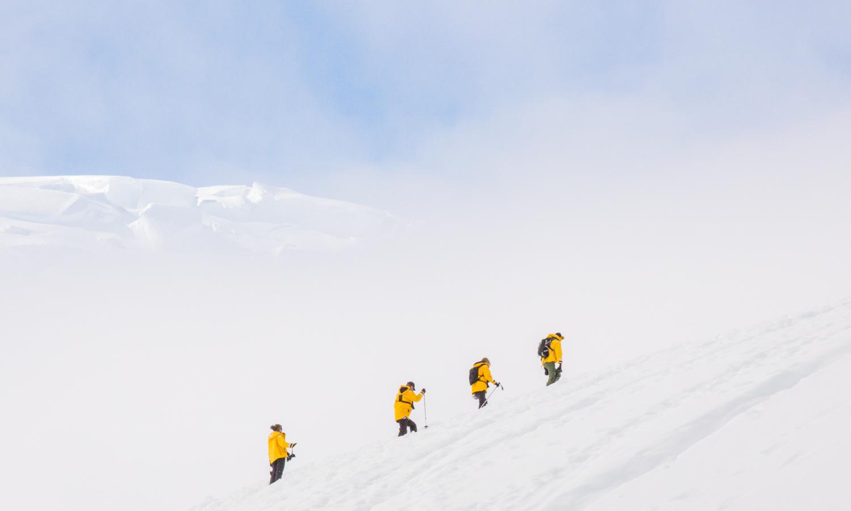 Hiking above Paradise Harbor, Antarctic Peninsula.