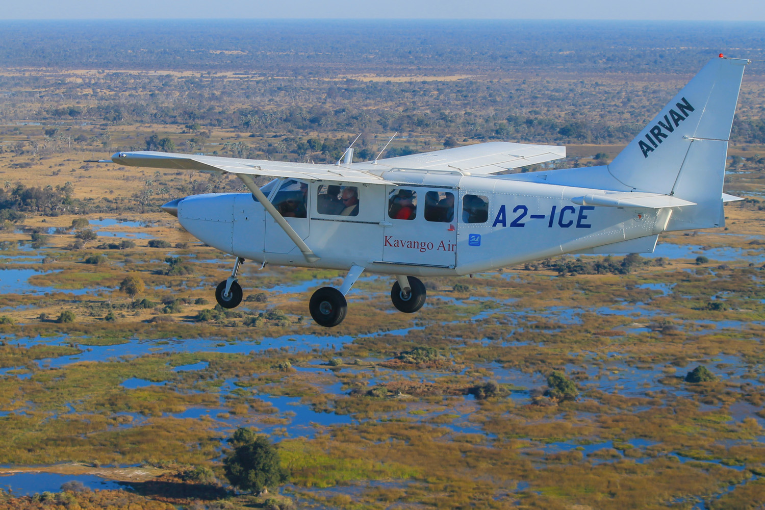 View of the Okavango Delta from the air.