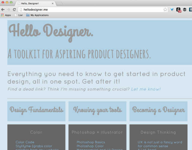 Hellodesigner.me is a library of product design resources for aspiring designers. I built it when I was getting started in design to share all the good content I was finding on design education.