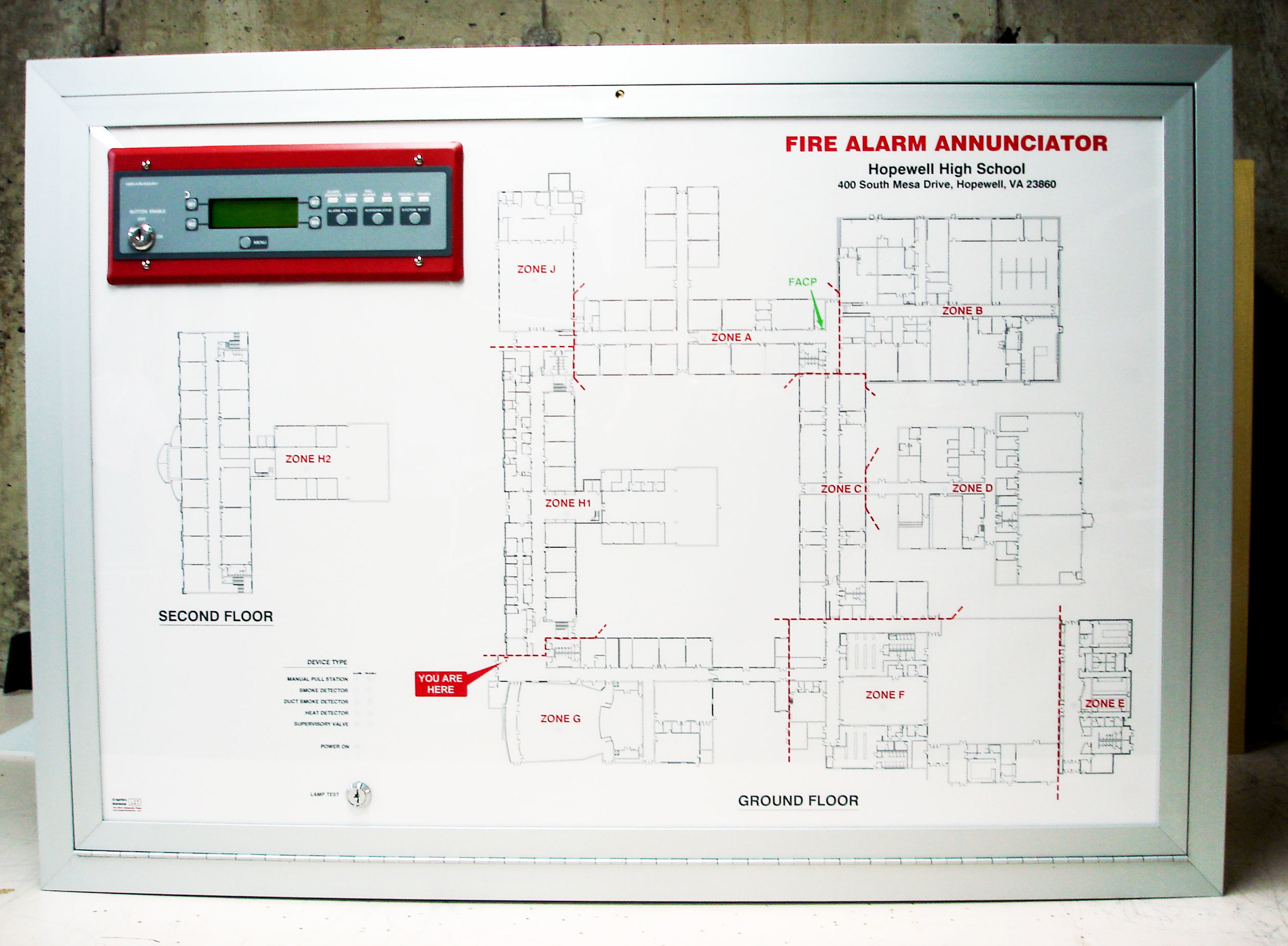 Fire Alarm Graphic Annunciator with LCD Display