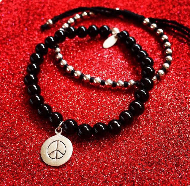 925 Sterling Silver Black Agate Peace Bracelets