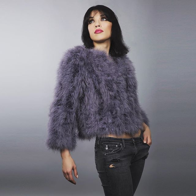 #wadabags so pretty feather jacket in lavender grey - perfect to wear against a snowy background  #instafashion #instastyle #glam #beautifulthings #luxury #style #londonstyle #beautiful #fashiongram #lovely #feathers  #featherfashion  #silver  #jackets  #gorgeous