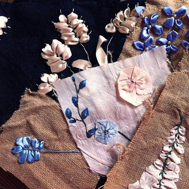 #wadabags some samples of my old school silk ribbon embroidery. #accessories#embroidery #silkribbonembroidery #handmade #sewinglove #instastyle #gorgeous #beautifulthings #stitchit #sewingallday #makingthings #lovely #inspiration #flowers #ribbon
