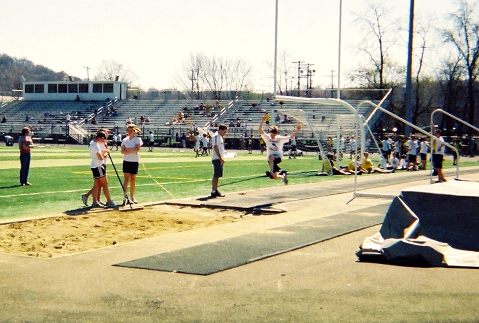 High School kids participating at a track meet (where Hannah's brother went to school)...