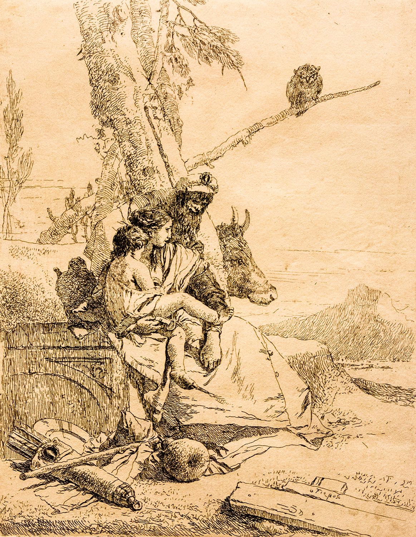 Giambattista Tiepolo,  The Family of the Oriental Peasant  (c 1750), from  Scherzi di Fantasia
