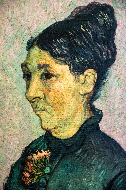 Vincent Van Gogh, Portrait of Mme Trabuc (1889) (detail)