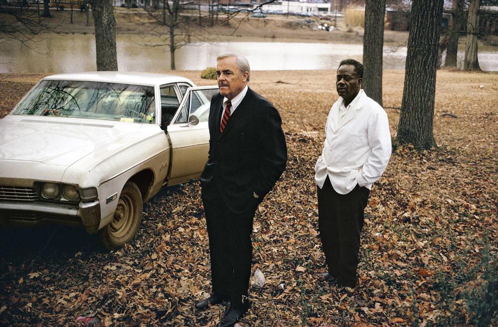 William Eggleston's uncle, Adyn Schuyler, and assistant Jasper Staples, Sumner, Mississippi, 1969/70