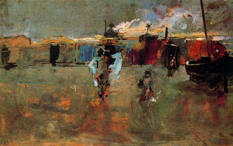 Ignacio Pinazo,  Beach Scene with Houses and Boat