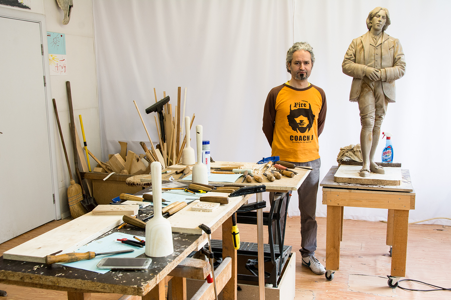 Sculptor and wood carver Steliyan Steliyanov, in his studio
