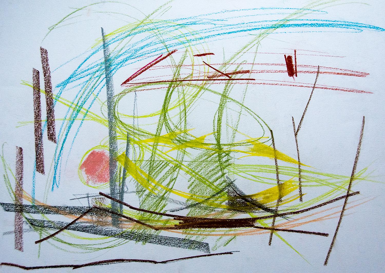 Zaimov Park, Sofia, conte carre on paper, 59x42cm