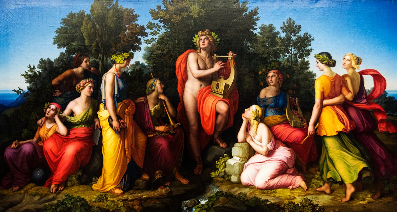 Heinrich Maria von Hess,  Apollo and the Muses  (1826), Neue Pinakothek