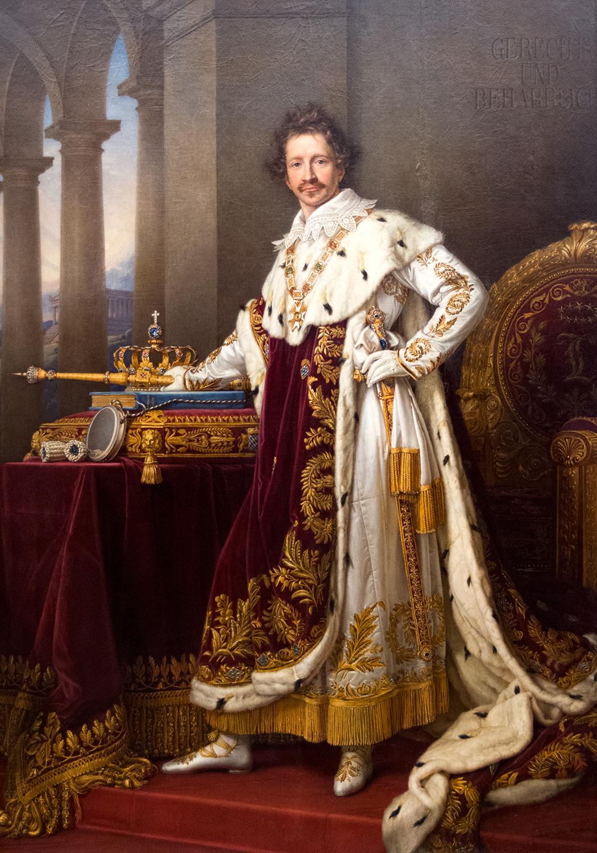 Joseph Stieler (1781-1858),  King Ludwig I of Bavaria  [builder of the Alte and Neue Pinakotheken]  in Coronation Robes  (1826), Neue Pinakothek