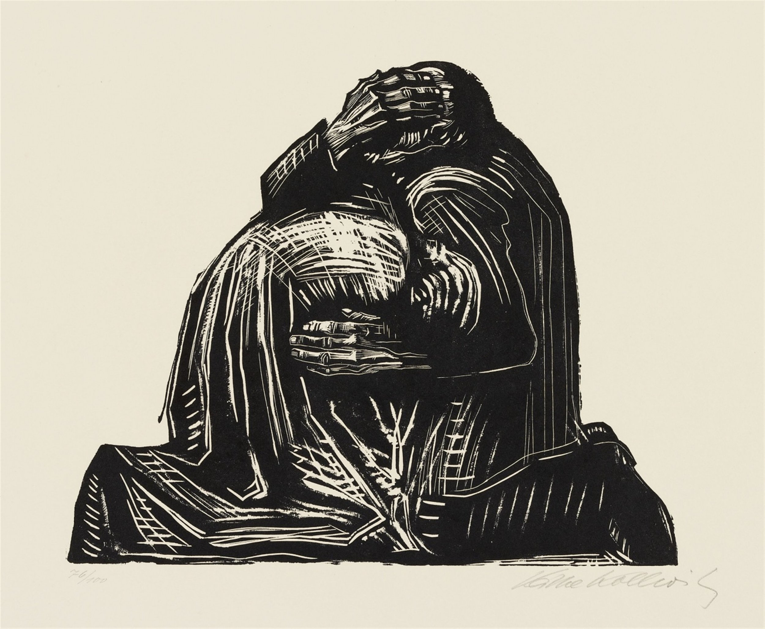 Käthe Kollwitz, Die Eltern (The Parents), from Krieg, woodcut, 1921/22