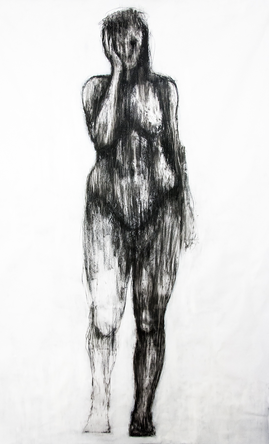 Penelope, compressed charcoal on canvas, 210 x 130 cm