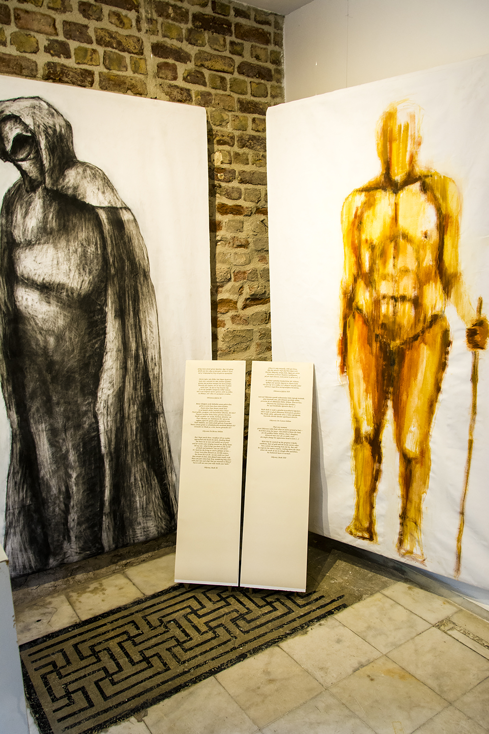 Ulysses (pigment and glue on canvas) on the right, Ulysses's mother Anticleia (compressed charcoal on canvas) on the left, at Tasarım Bakkalı.