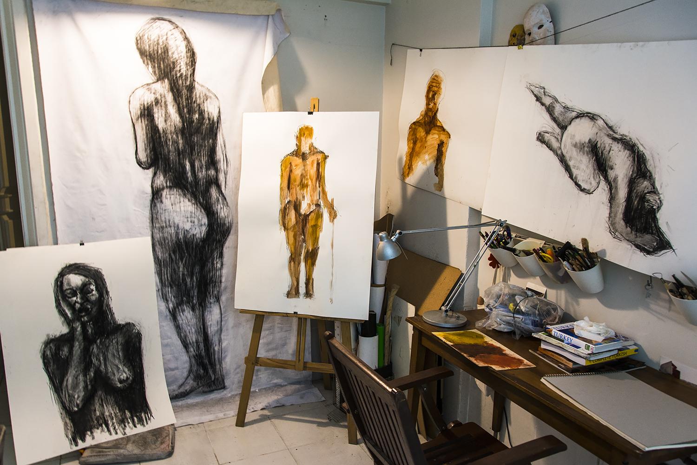 The Tasarım Bakkalı studio in Büyükada with my preliminary work.