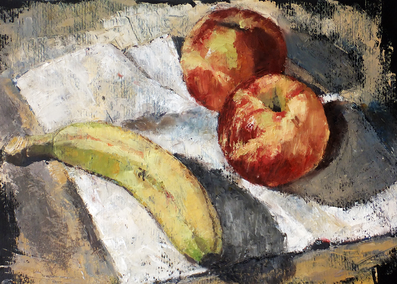 Fruit study, oil on paper, 50x35cm