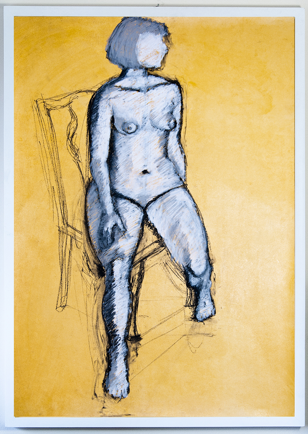 Helen I, 84x59 cm (framed), charcoal and chalk on shellac-primed paper