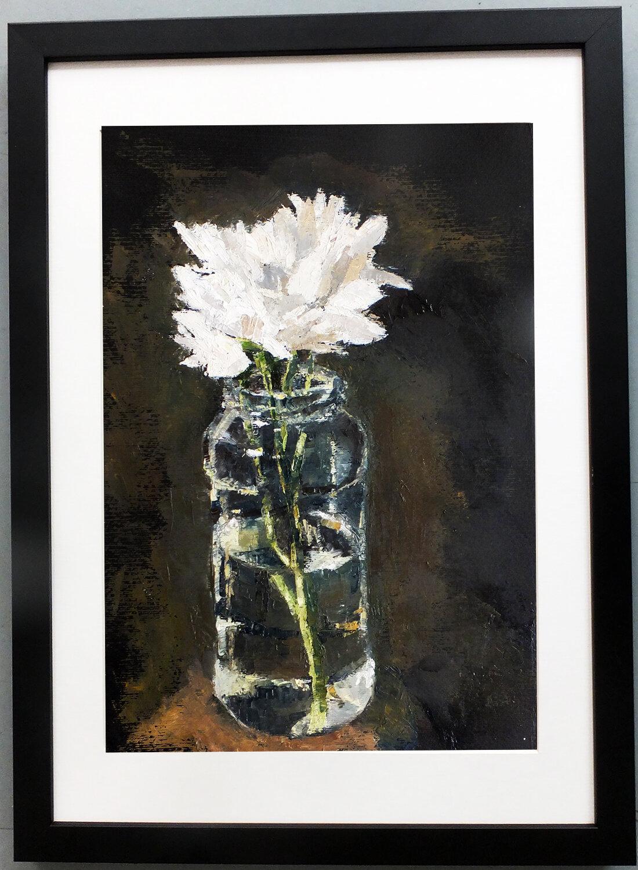 Chrysanthemums study, oil on paper