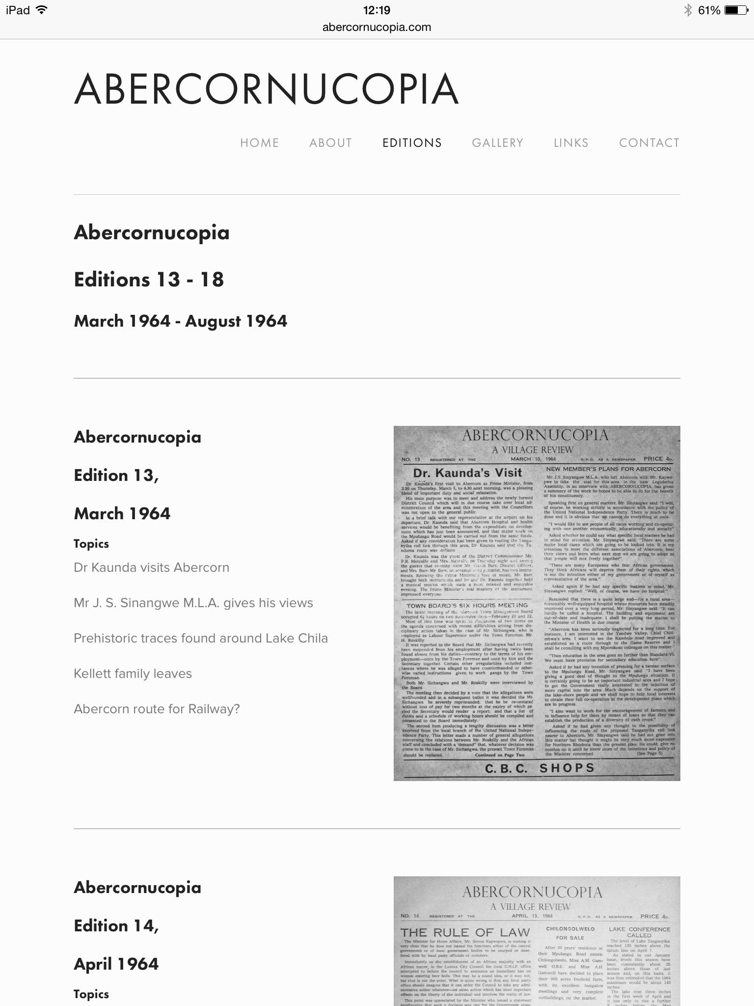 Abercornucopia, newspaper editions available to explore online