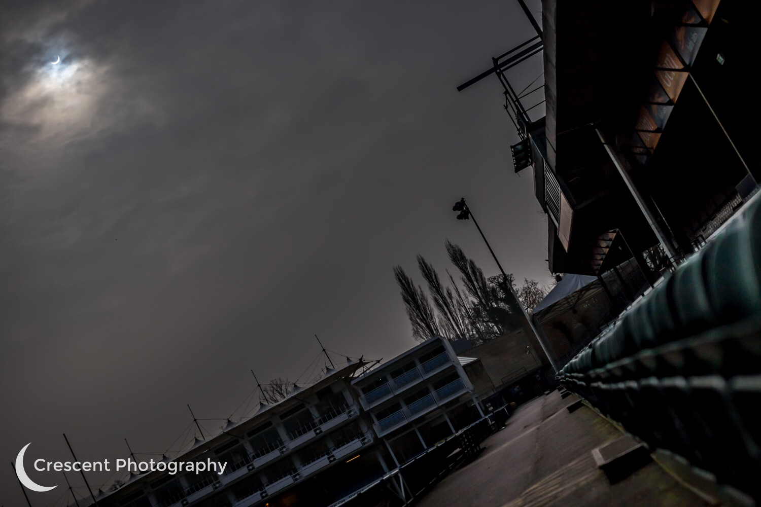 Eclipse and an empty Bath Rugby stadium