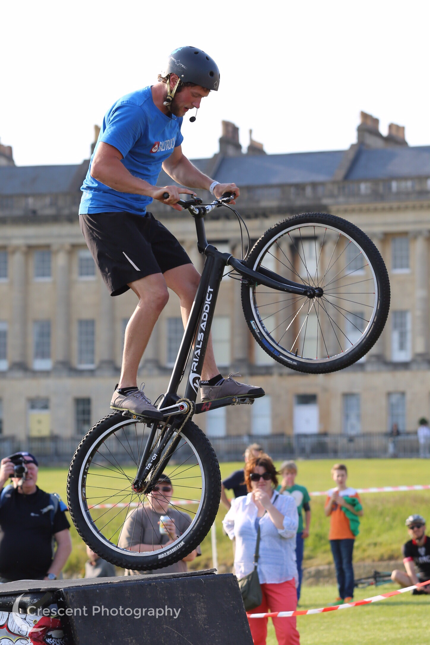 Trials rider in front of the Royal Crescent