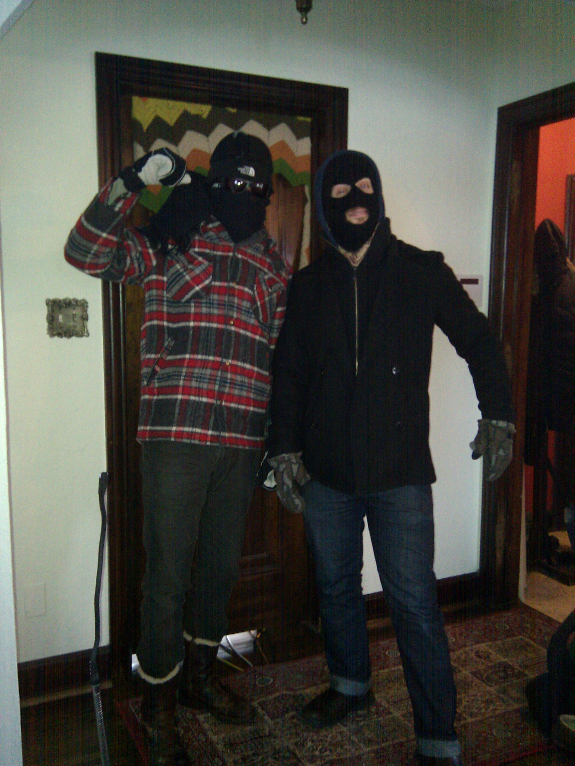 Nick and Eric prepare to rob a bank. Or shovel a friends driveway in -14 degrees...whichever comes first.