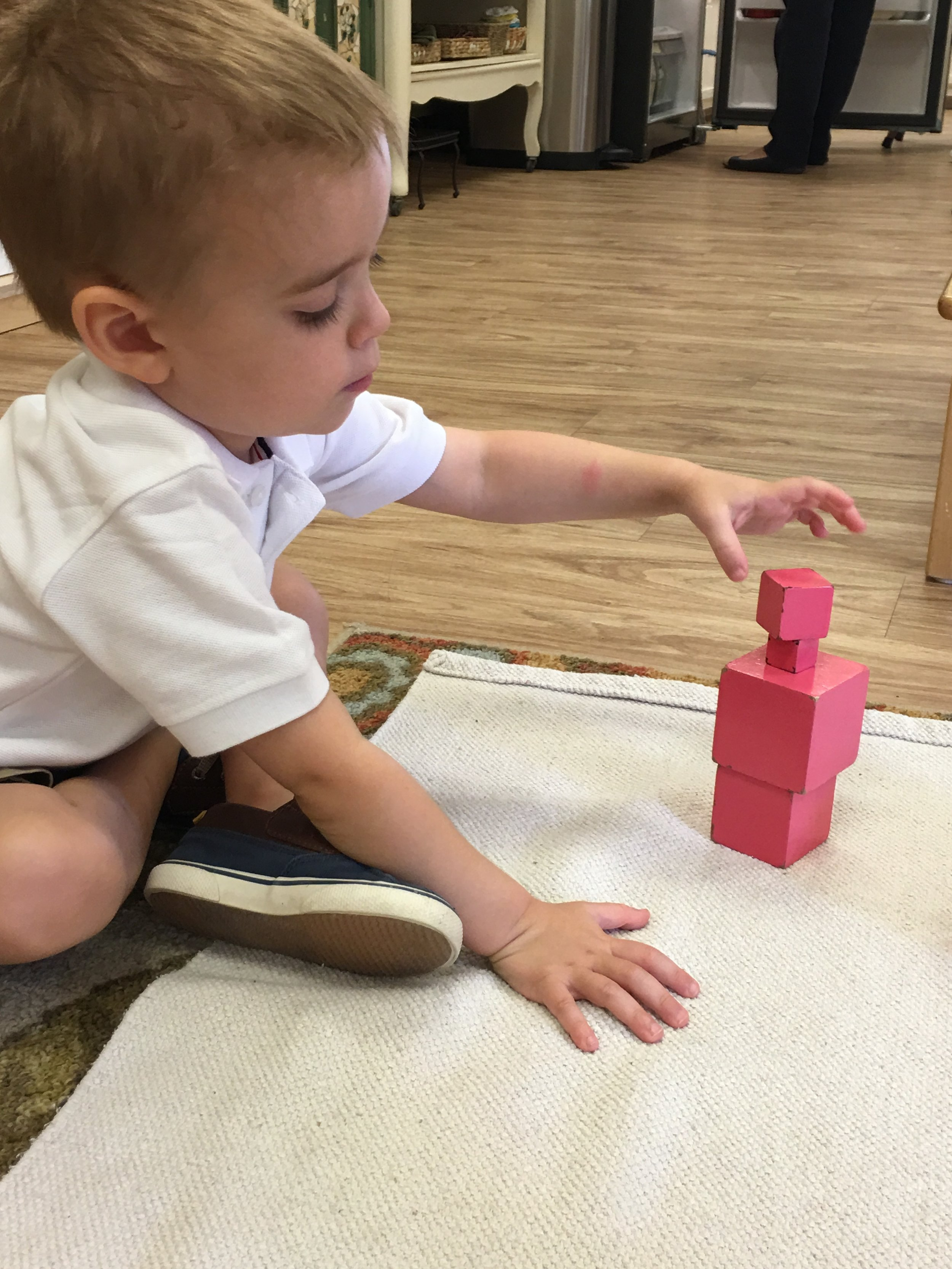 A child building the Pink Tower