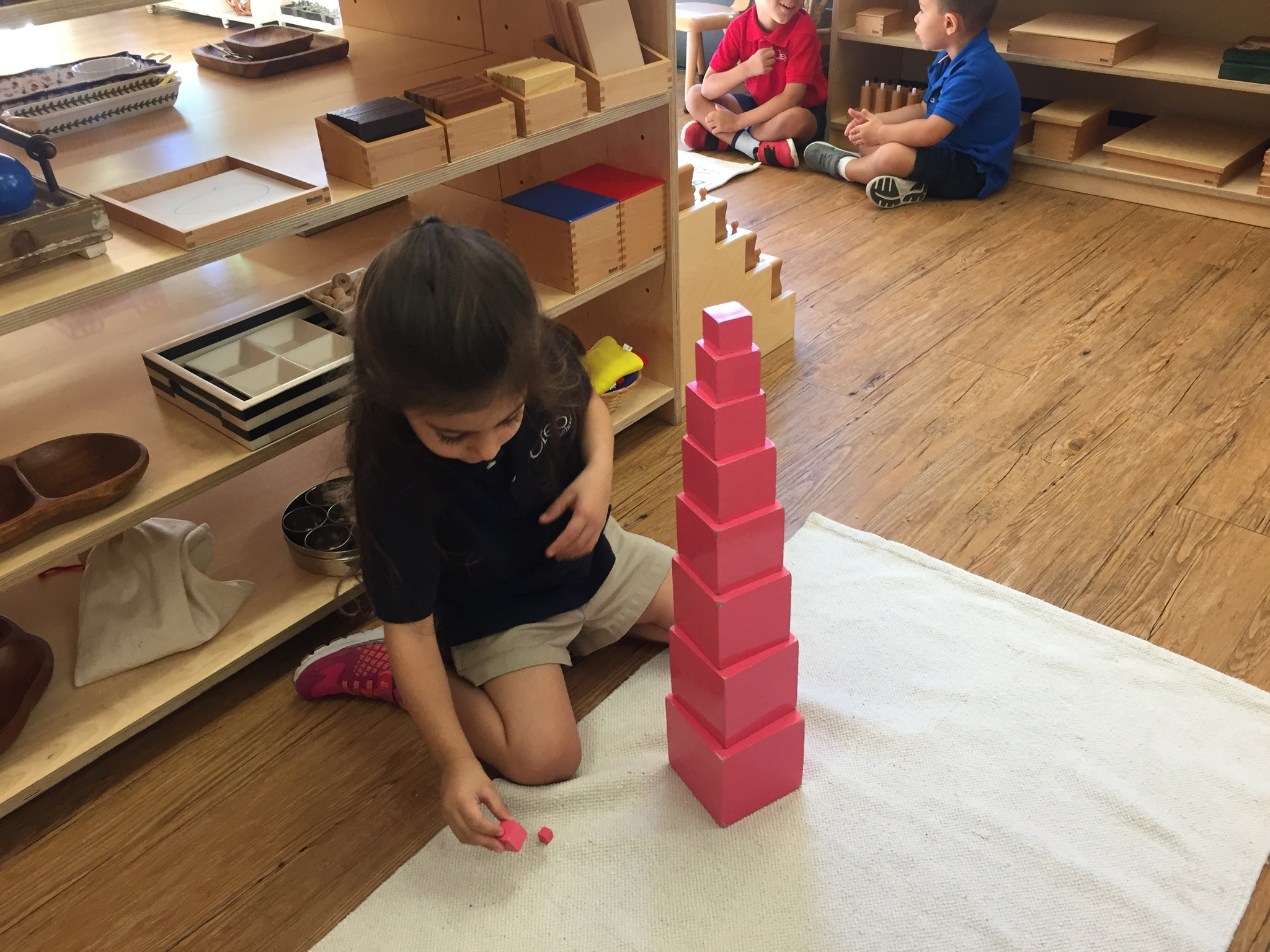 Building a Pink Tower.