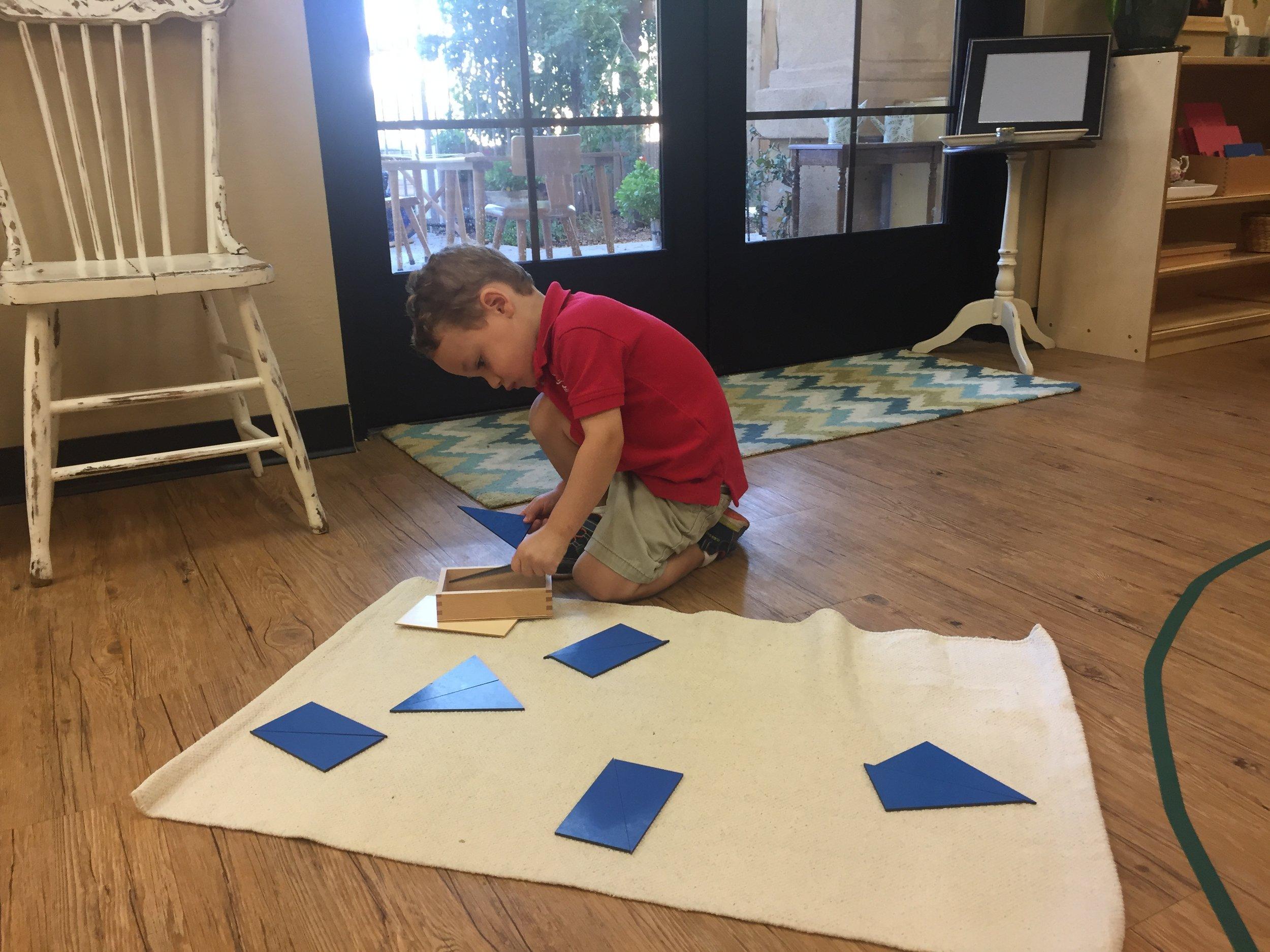 Blue identical triangles