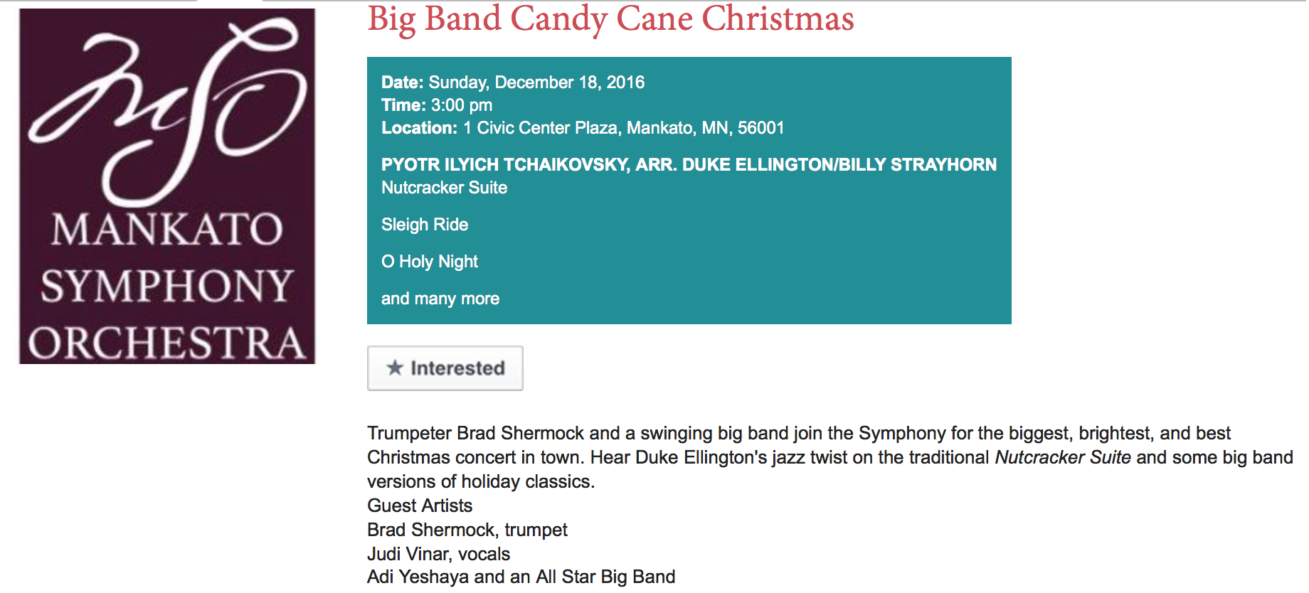 For tickets, click here  http://www.mankatosymphony.com/big-band-candy-cane-christmas-0