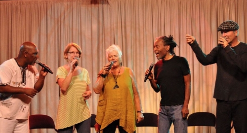 """Circle Songs"" faculty: Joey Blake, Judi Vinar, Rhiannon, Bobby McFerrin, David Worm"