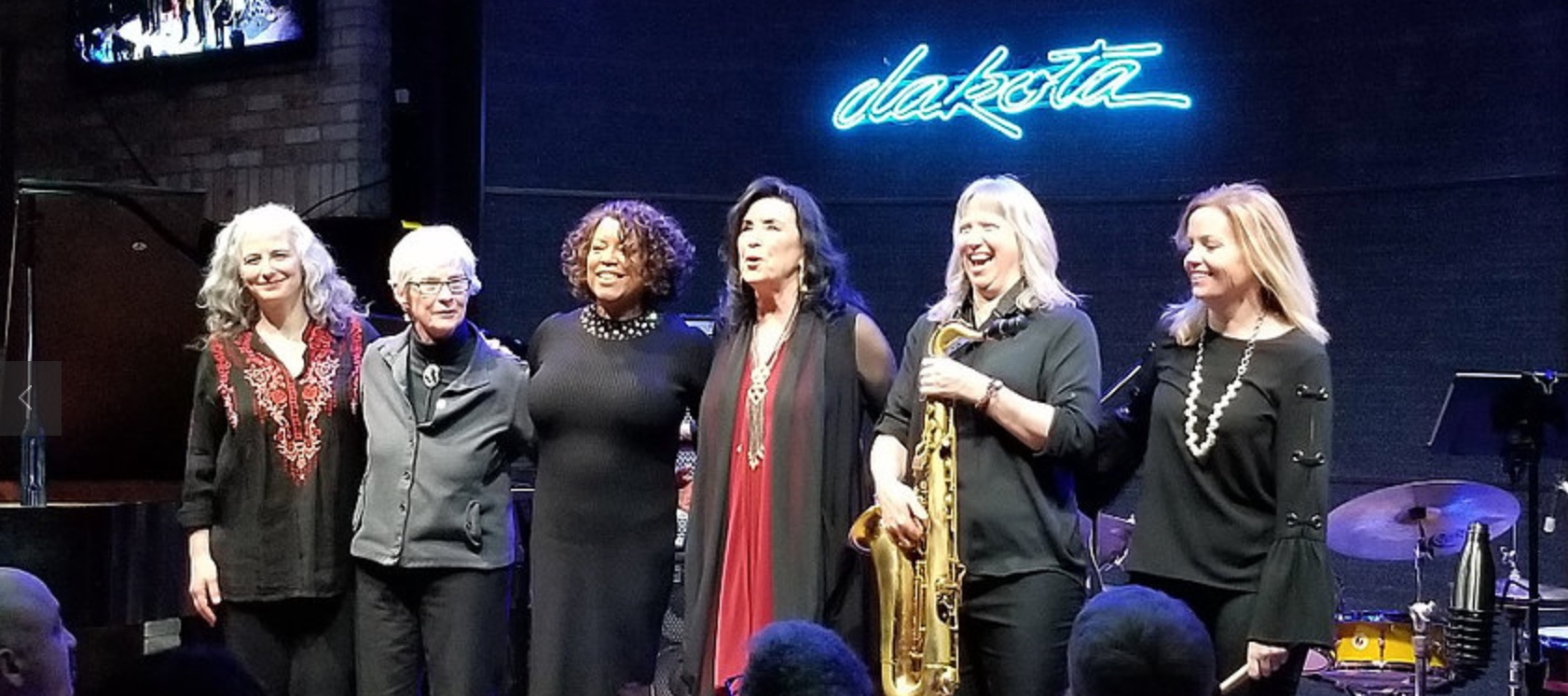 Jazz Women All Stars L to R - Mary Louise Knutson, Joan Griffith, Yolande Bruce (previous guest vocalist), Patty Peterson, Sue Orfield, Sheila Earley