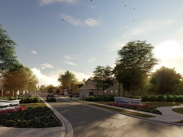 Digital rendering we prepared for the entrance of a new community, Windsong Acres, here in St. Augustine alongside our client @mastercraftbuildergroup #landscapearchitecture #staugustine #rendering