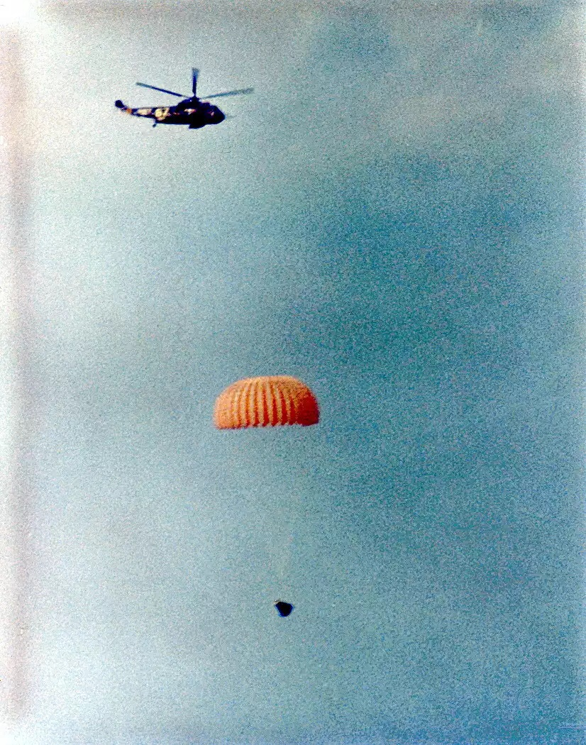 The Gemini crew returning to Earth. Source: www.spacefacts.de