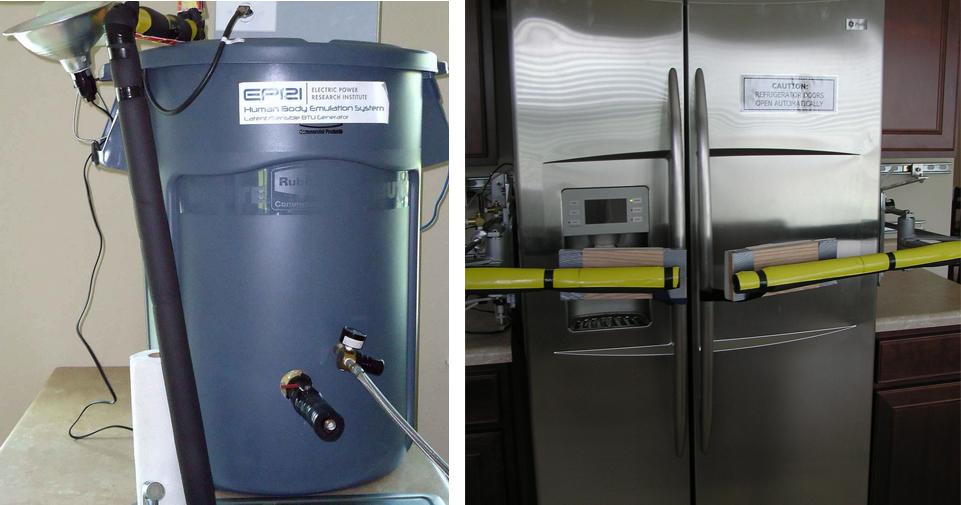 "Left: ""Human Body Emulation System."" Right: Robot refrigerator door openers."