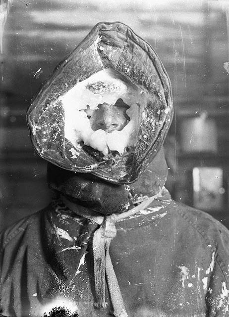 Ice mask, C.T. Madigan, between 1911-1914. Photograph by Frank Hurley Source: State Library of New South Wales