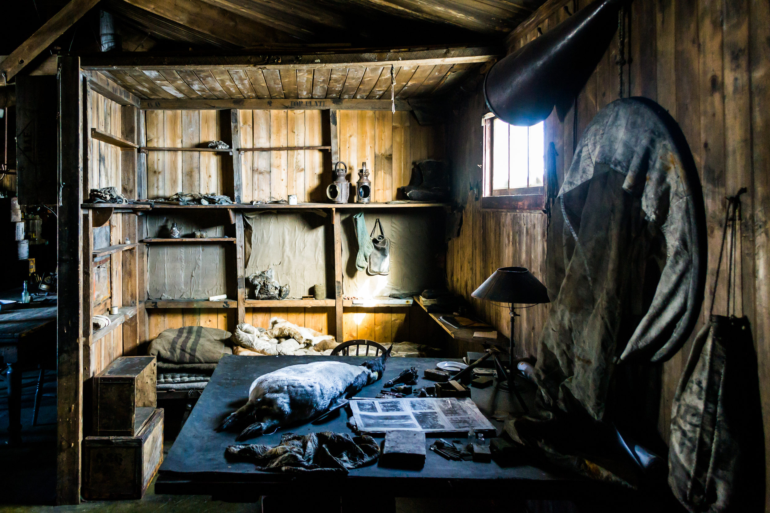 Modern photograph of the interior of Scott's hut, unchanged since 1913. Cape Evans, Ross Island, Antarctica. Photo: Flickr