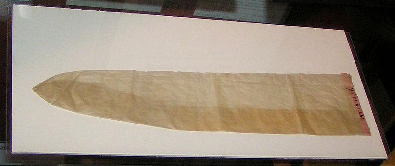 An animal intestine condom from around 1900. Photo: Wikipedia