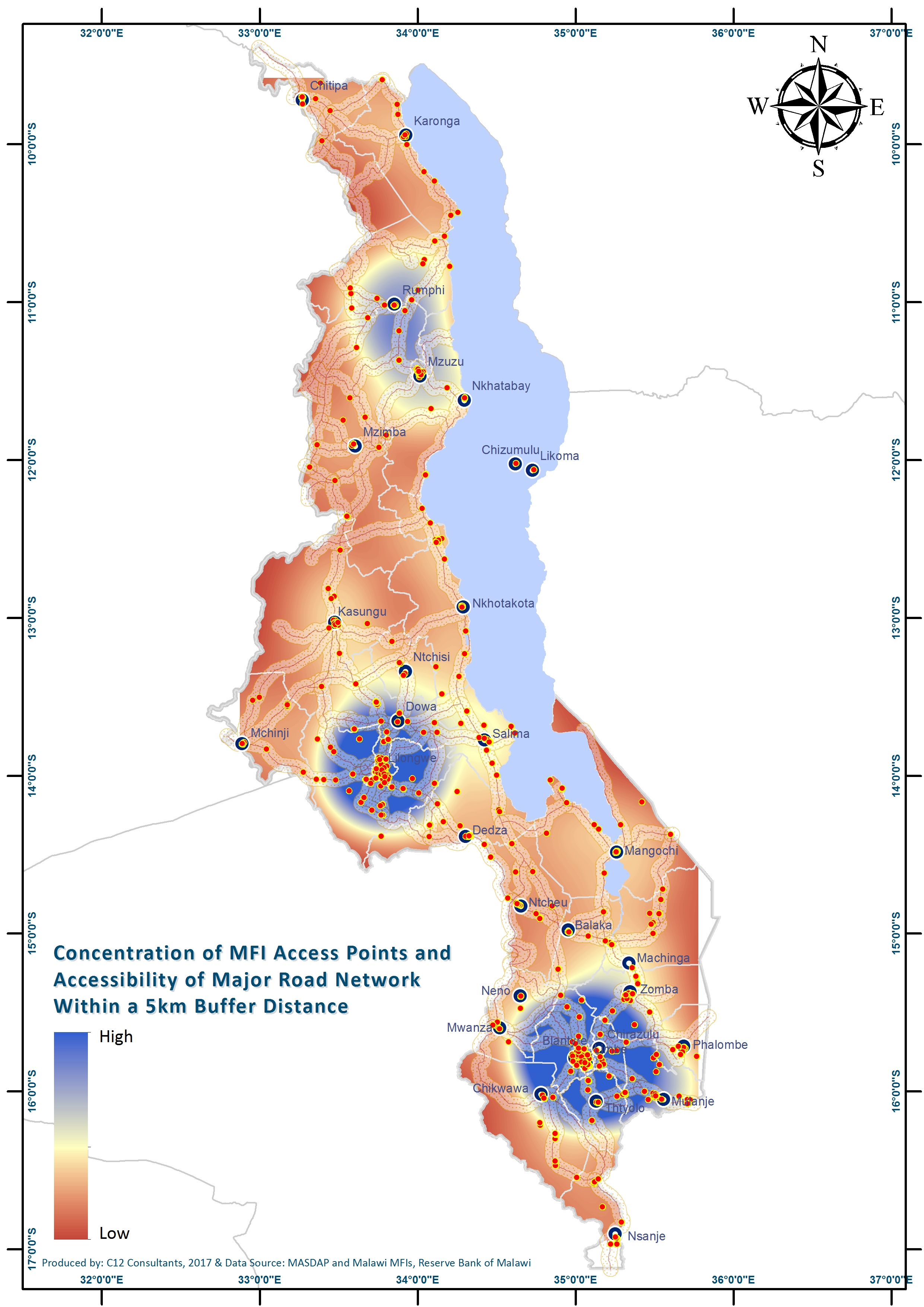 Map 3_Concentration of MFI Access Points and Accessibility of Major Road Network Within a 5km Buffer Distance.jpg