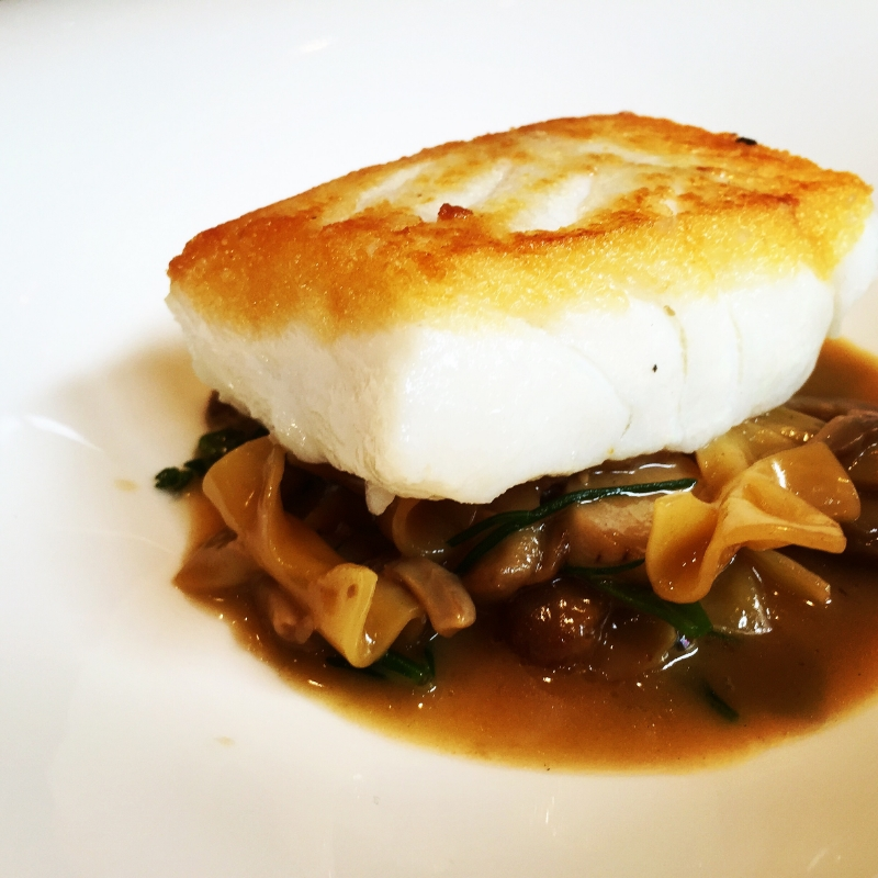 Fillet of Cornish Cod, hand rolled farfalle, cepes and monks beard