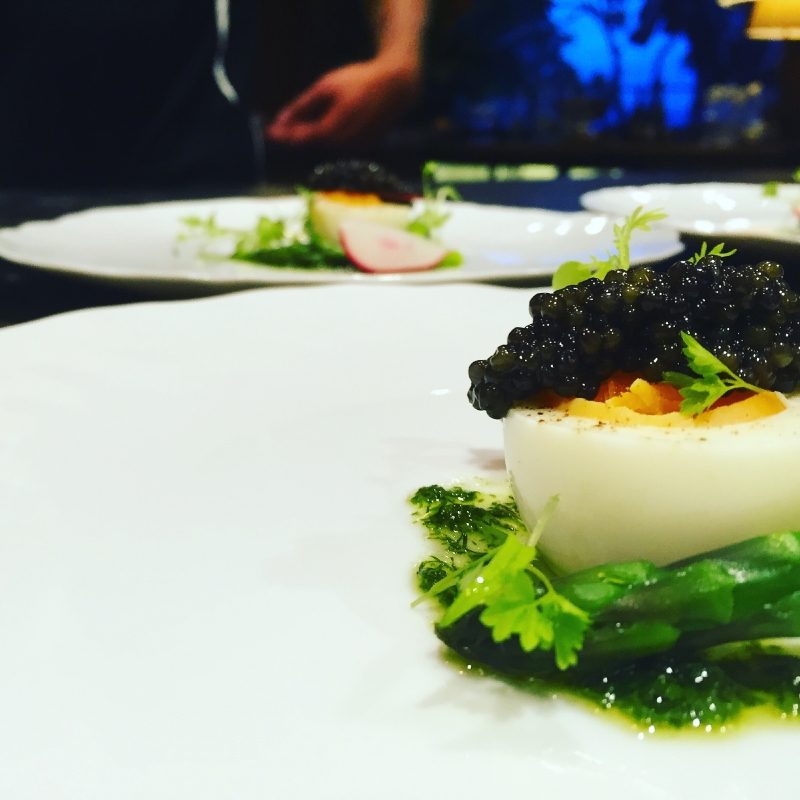 Salad of hens egg with dill and Osetra