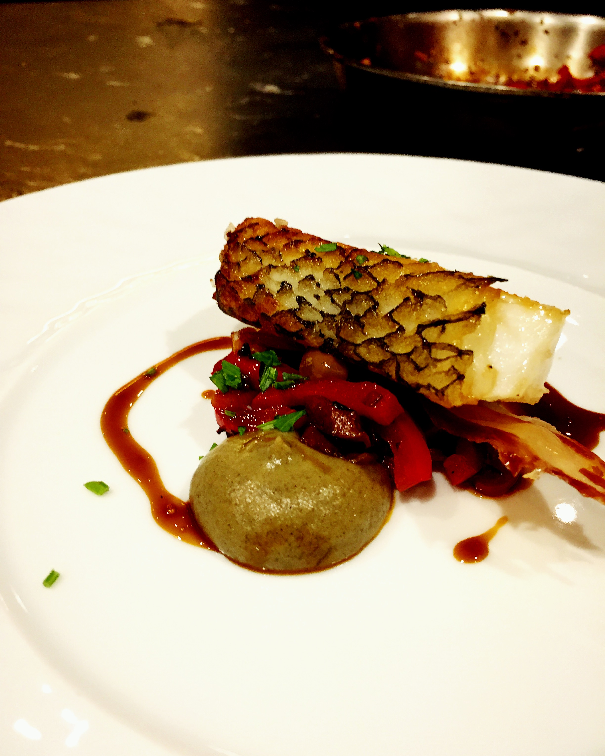 Roasted toothfish, eggplant, peppers and olives