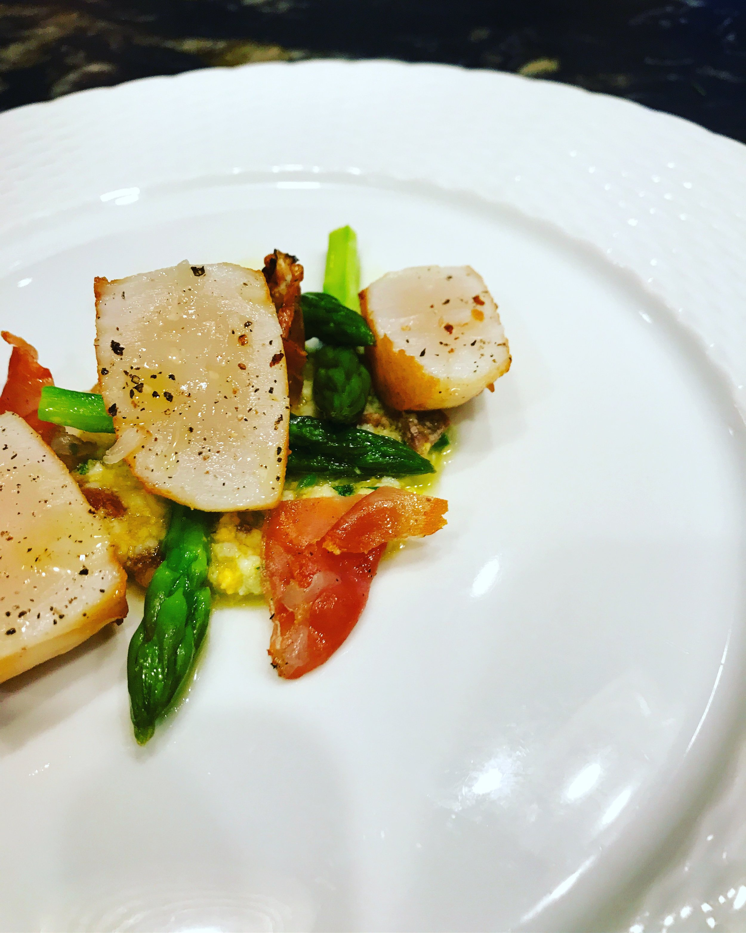 seared scallops and spring asparagus with egg, anchovy and prosciutto