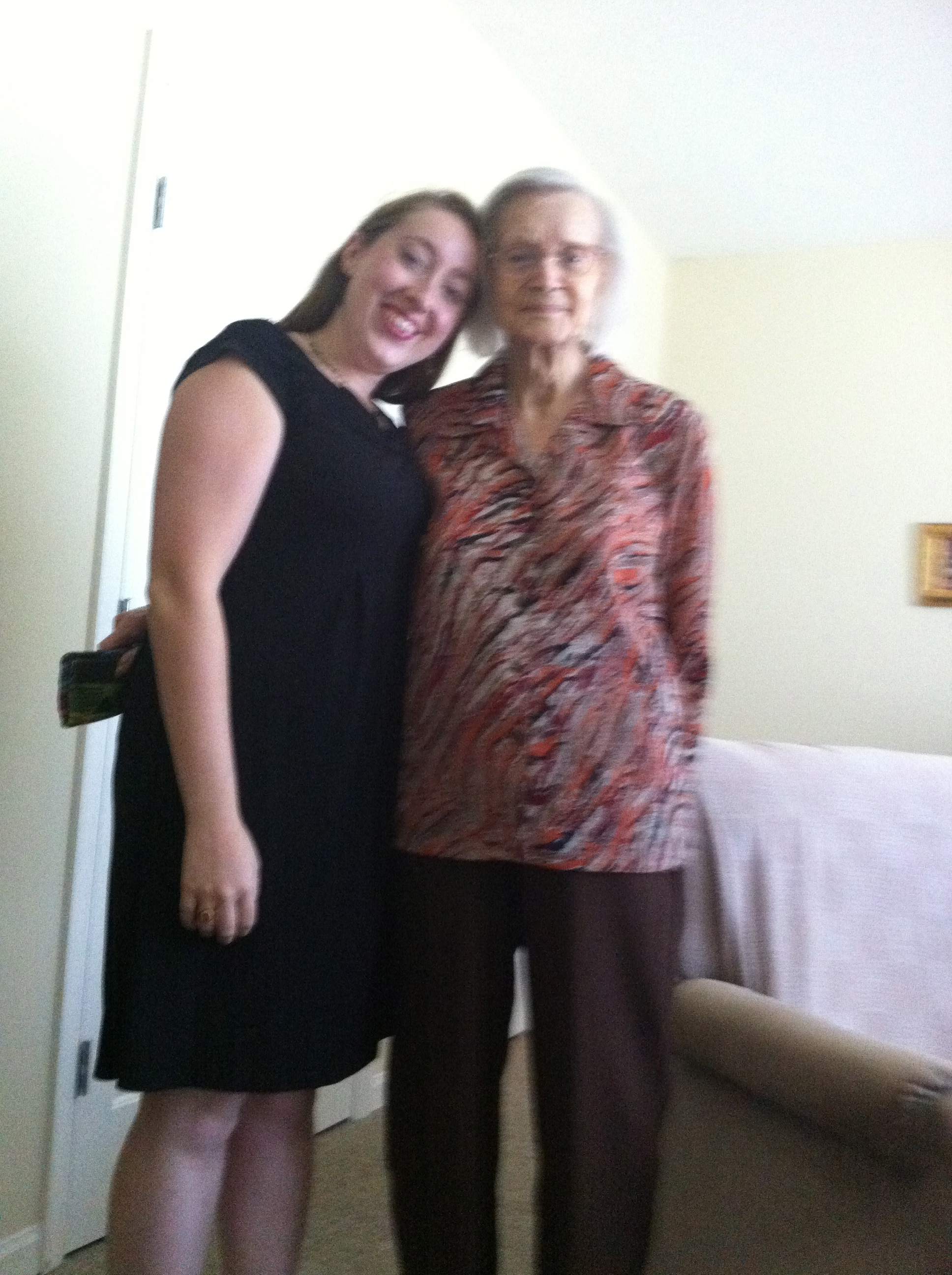 "Just a few years ago, Nona had towered over me. She was a regal woman at 5'8"" or so, but over the years--between my growing up and her shrinking--I caught up to her. When I visited around this time, her verbal filter had really disappeared because she'd look at me and say, ""Purts, you sure have put on a lot of weight."" It was hard to resent her for it because I knew she didn't know what she was saying, but I did let it inspire me to go on a diet. 18 pounds down and counting!"