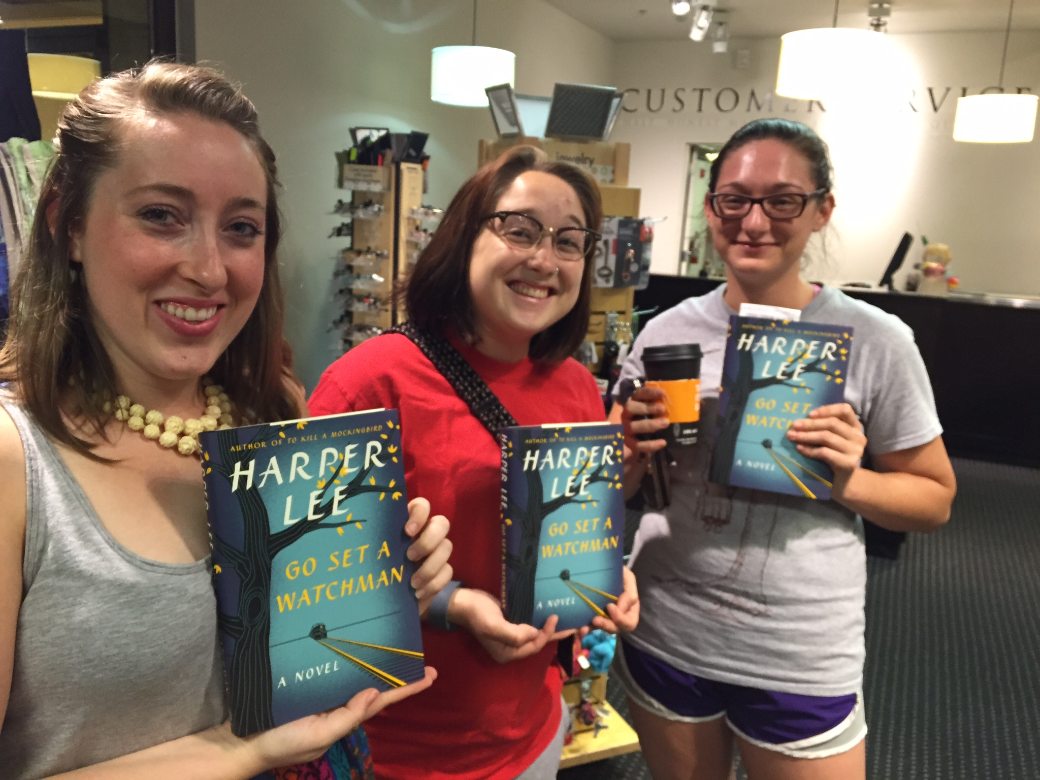 Me and my friends at Books-a-Million for the midnight release of  Go Set a Watchman !From left to right it's me (Mandy Shunnarah), Kyrsten Matthews, and Allie Curlette. We're pretty pleased with ourselves! :D