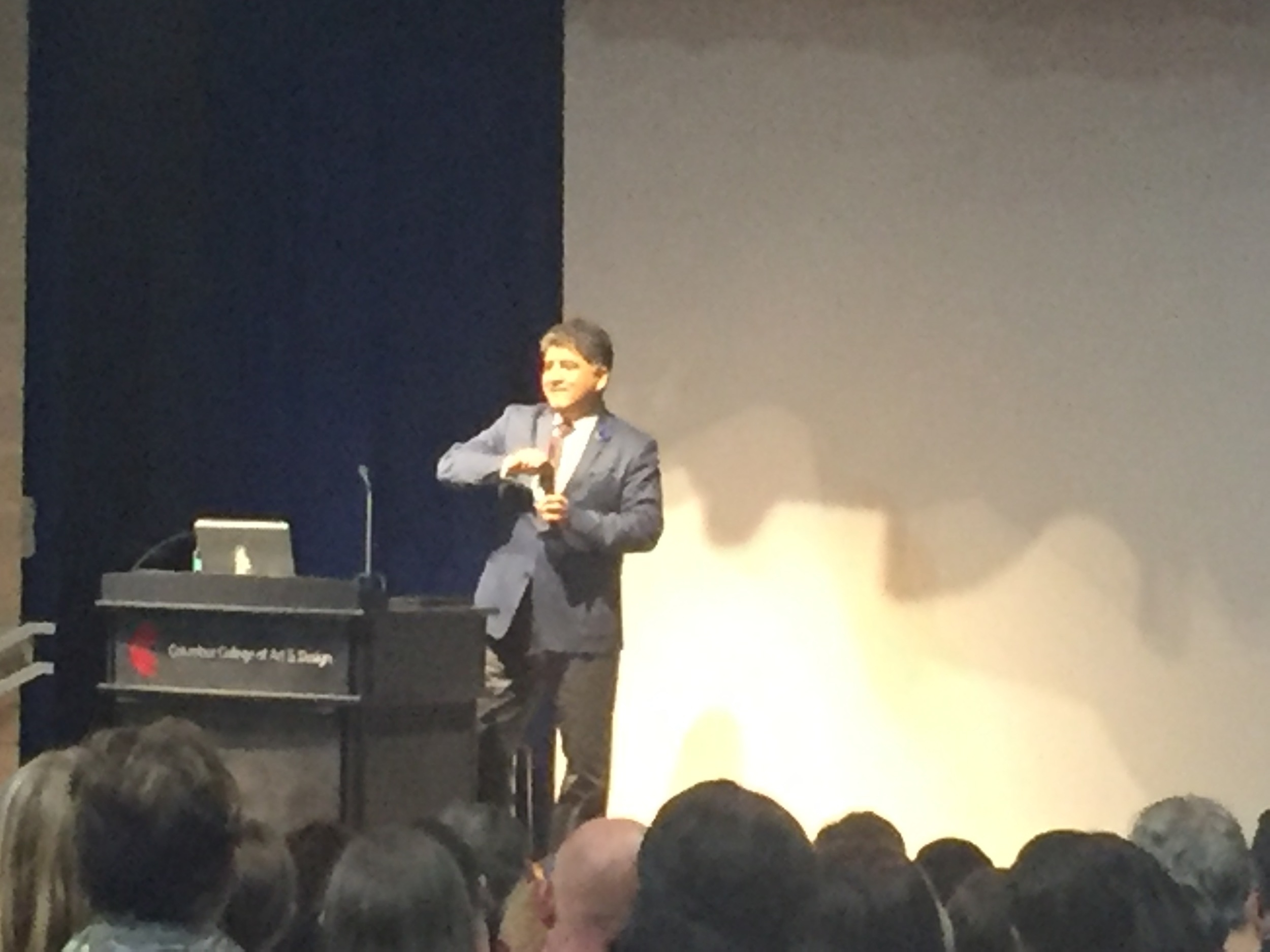Forgive the shitty photography; I was in the back of the room. But that's Sherman Alexie!