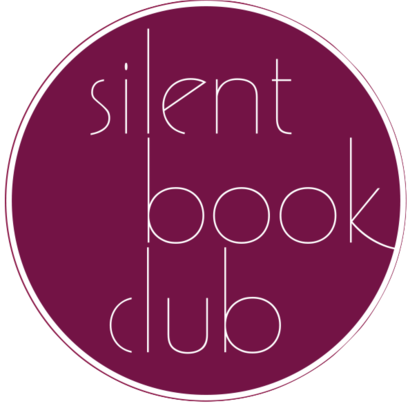 """[image description: the Silent Book Club logo, which is a fuschia colored circle with the words """"Silent Book Club"""" inside]"""